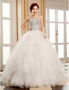 Wedding Dress Ball Gown Floor Length Tulle Strapless With Sequins and Beading - USD $ 99.99