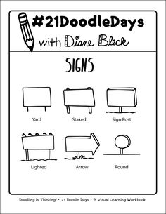 - Lesson 14: Signs - 21 Doodle Days - Learn How to Doodle - Art by: Diane Bleck of The Doodle Institute