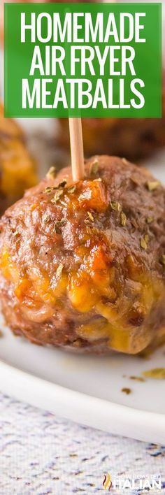 Air fryer meatballs are easy to throw together when weeknights are a bit hectic. Just mix, roll, and cook to perfection in under 20 minutes! Air Fryer Dinner Recipes, Air Fryer Recipes Easy, Easy Dinner Recipes, Easy Recipes, Low Carb Recipes, Beef Recipes, Cooking Recipes, Savoury Recipes, Meatball Recipes