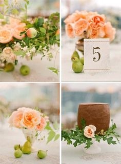 how cute are the pears used as accents around the centerpieces