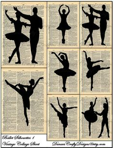 Vintage Ballet Silhouettes on book pages.  Could be done in reverse also....