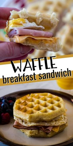 No more boring breakfasts! Make these quick and easy Egg, Ham and Cheese Waffle Sandwiches - a fun waffle breakfast sandwich that is ready in a just a few minutes - perfect for busy mornings or when you are having breakfast for dinner! Brunch Recipes, Breakfast Recipes, Cheese Waffles, Waffle Sandwich, Ham And Cheese, Breakfast For Dinner, Food To Make, Oatmeal, Sandwiches