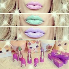 Pink lips, and mint lips and lilac so CUTE! Photo via pastel_unicorn_