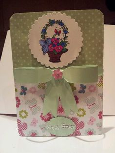 Easter card with hand made paper bow