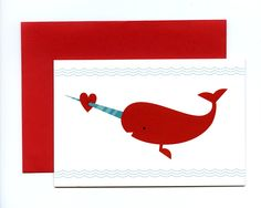Narwhal cupid card! Great box set of different Valentines cards at Nimbus Factory