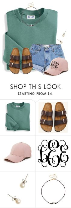 """""""Really want to get a blush hat like this and monogram it"""" by flroasburn on Polyvore featuring Blair, Levi's, Birkenstock, Sole Society, J.Crew and City Streets"""