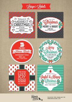 Printable | Personalized | Merry Christmas Labels by Little Paper Sparrow | Worldlabel Blog