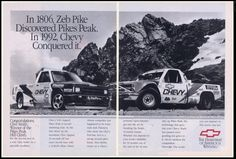 Chevrolet made a big push at the Pikes Peak Hill Climb race in the early 90s. Ad from 1992
