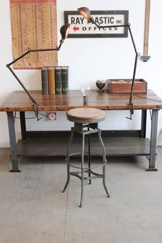 Vintage Industrial Toledo UHL Early Draftsman Stool w/ Wood Seat  ca. 1940s
