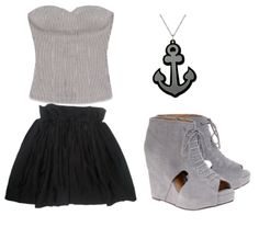 #outfits #style #black #grey #fashion #necklaces #accessories #anchors #skirts #tops #shirts #strapless #wedges #heels #shoes #pumps #cutout #laces