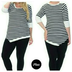 """Nautical Stripe Top (Plus) Comfy black & white nautical striped top, 3/4 length sleeves with solid white accent, asymmetrical hem. Pair with jacket for cute fall look.  Measurements: 1x: 19"""" armpit-armpit, 30"""" long @ longest  point 2x: 20"""" armpit to armpit,  30"""" longest point 3x: 21"""" armpit to armpit,  30"""" longest point  95% rayon, 5% spandex. Great fall transition piece, can dress up or down. BUNDLE & SAVE 15%, OFFERS WELCOMED Bellino Clothing Tops"""