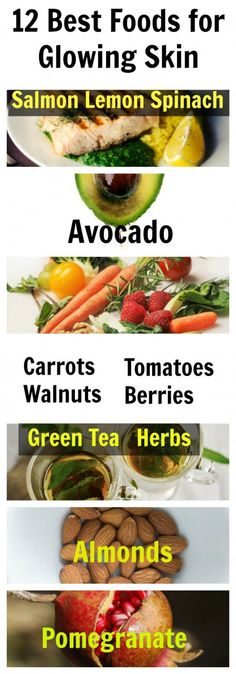 12 of the most beneficial food for glowing and healthy skin.