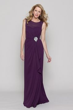 Watter Collection 20 2521 Plum crinkle chiffon sleeveless floor length dress  with a sheer neckline 3ce1a156eec6