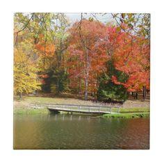 Seven Springs Fall Bridge III Autumn Landscape Ceramic Tile - spring gifts style season unique special cyo