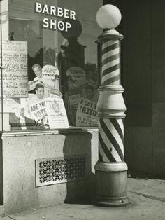 Striped Barber Pole Outside Shop