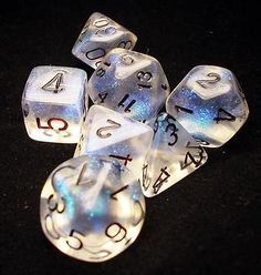 Dice Set Borealis Poly Aquerple Black 7 Chessex 27420 | eBay
