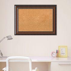 Amanti Art Cyprus Walnut Finish Cork Board Wall Decor, Brown Oth