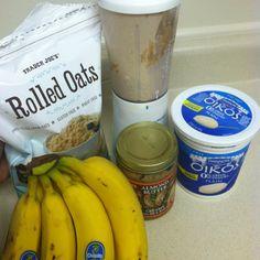 Peanut Butter Banana Oatmeal Smoothie  1 whole banana  1tbsp non fat Greek yogurt 2tbsp oatmeal ( I like the rolled oats) 1.5 tbsp pb or I use almond butter  Ice   Yummy filling healthy breakfast smoothie