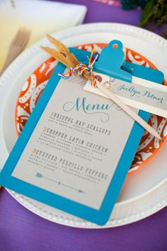 fun idea to add color: patterned salad plates with a pop color menu board.