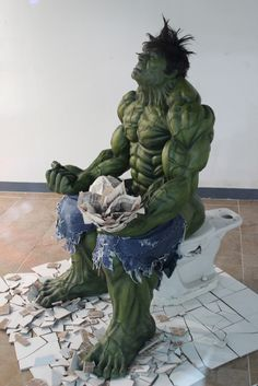 Did Bruce Banner transform into the Hulk while pooping?  Or was he already the Hulk and realized he had to take a poop?  Who knows? Art is supposed to make you question things I guess.