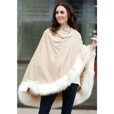 Donna Salyers' Fabulous-Furs Fur Trimmed Cape (378582401) ($149) ❤ liked on Polyvore featuring outerwear, camel, wrap shawl, pink cape, wrap cape coat, camel cape coat and cape shawl