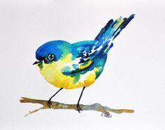 Pintura de aves de acuarela ORIGINAL 6 x 8 por ArtCornerShop