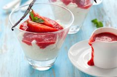 Dr. OZ..Strawberry Pudding. For a healthy dessert alternative, this naturally sweet pudding recipe is a tasty treat and has no added sugar. Substituting protein-rich tofu for heavy milks and creams makes this dish much lighter and diet-friendly.