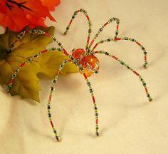 Autumn Orange Crystalline Beaded Spider Ornamental  Decoration. $25.00 USD, via Etsy.