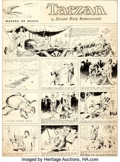 Original Comic Art:Comic Strip Art, Hal Foster Tarzan Sunday Comic Strip Original Art dated2-5-33 (King Features Syndicate, 1933)....