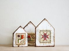 Wooden Houses Ornaments  set of 3 Hand Painted by CozyHomeStore, $29.80