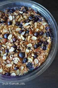 // Blueberry banana baked oatmeal.