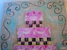 Cake painting original canvas whimsical French black checks dessert bakery kitchen art 18x24