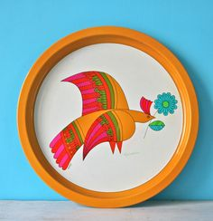 bird tray, love those colors!