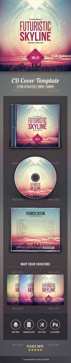 Futuristic Skyline CD Cover Artwork — Photoshop PSD #metropolis #ambience • Available here → https://graphicriver.net/item/futuristic-skyline-cd-cover-artwork/16037661?ref=pxcr