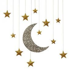 All That Glitters New Years Party Theme >> Glitter Moon Stars Hanging Decorations Ramadan Crafts, Ramadan Decorations, Star Decorations, Hanging Decorations, Glitter Decorations, Fest Des Fastenbrechens, Decoraciones Ramadan, Gold Home Accessories, Hanging Stars