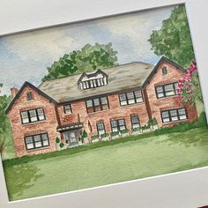 Beautiful brick home, hand painted in watercolor. Painting from photographic references. Watercolor Artwork, Watercolor Portraits, House Paintings, House Illustration, Realtor Gifts, Hand Sketch, New Home Gifts, Cool Lighting, Custom Paint