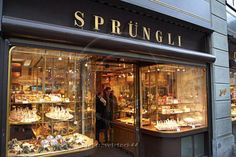 Sprungli chocolate specialty store in Zurich, Switzerland.....what dreams are made of...