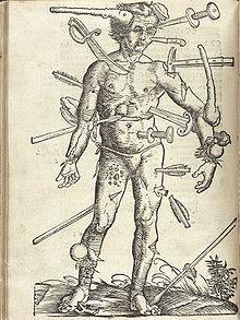 Feldbuch der Wundarznei (Field manual for the treatment of wounds) by Hans von Gersdorff, (1517); illustration by Hans Wechtlin.