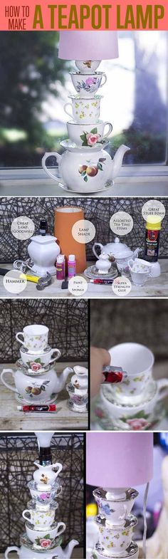 Alice in Wonderland DIY Room Decor Ideas | Teacup Lamp by DIY Ready at http://diyready.com/15-diy-room-decor-ideas-for-teenage-girls-who-love-disney/