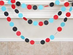 Red Turquoise Black Birthday Party Paper Garland, Little Man Mustache Party, Little Boy First Birthday, Graduation Decor, Photo backdrop on Etsy, $13.34 CAD