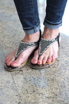 Two-Tone Rhinestone Design Sandal