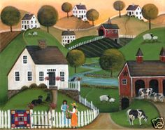 Primitive Country Dairy Farm Folk Art Painting Print