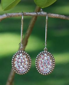 Pink Panache Mini Silver Oval Earrings with AB Crystals on Kidney Wire