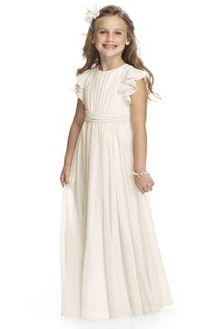 Dessy Collection Flutter Sleeve Long Chiffon Flower Girl Dress (Toddler Girls, Little Girls & Big Girls) available at #Nordstrom