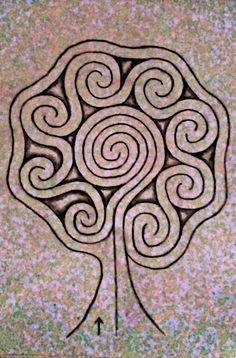 Tree labyrinth - All For Garden Labyrinth Walk, Labyrinth Garden, Meditation Garden, Walking Meditation, Labrynth, Medicine Wheel, Zentangle Patterns, Sacred Geometry, Garden Art