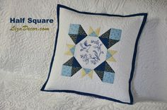 Patchwork Half Square - půlené čtverce, odšité rohy - LizaDecor.com #halfsquare #půlenéčtverce #tutorial #video #pravítka #šablony #vzory