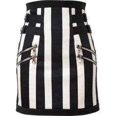 BALMAIN Striped Denim Skirt