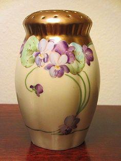 Pickard Sugar Shaker Muffineer Hand Painted Violets Gold Signed | eBay