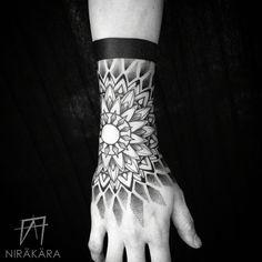 Mandala cuff tattoo by Ariel Nirakara Dotwork Tattoo Mandala, Mandala Hand Tattoos, Mandala Tattoo Design, Hand Tattoos For Guys, Hand Tats, Trendy Tattoos, Yoga Tattoos, New Tattoos, Girl Tattoos