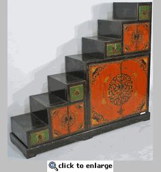 Antique Tansu Step Cabinet (Vintage Tansu or Step Cabinet Hand-Painted in the Tibetan Style)